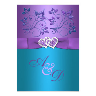 Great Purple, Teal Floral Hearts Monogram Wedding Invite