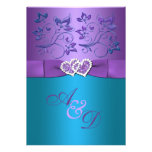 Purple, Teal Floral Hearts Monogram Wedding Invite