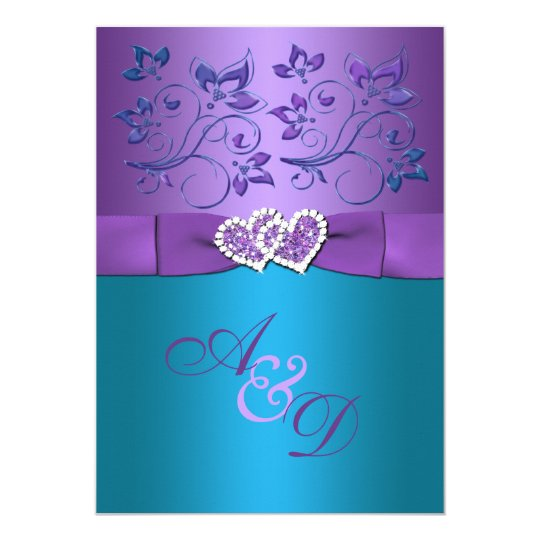 Purple teal floral hearts monogram wedding invite