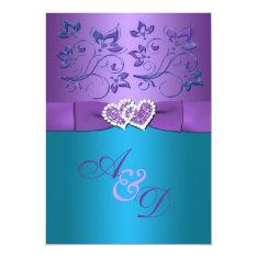 "Purple, Teal Floral Hearts Monogram Wedding Invite 5"" X 7"" Invitation Card at Zazzle"