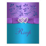 Purple, Teal Floral Hearts Monogram Wedding RSVP Card