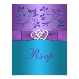 Purple And Turquoise Wedding Invitations & Announcements | Zazzle
