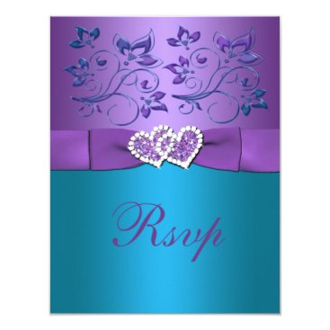 Valentines Themed Purple, Teal Floral Hearts Monogram Wedding RSVP Card