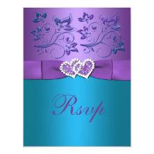 Purple, Teal Floral Hearts Monogram Wedding RSVP Personalized Invites