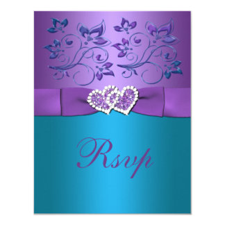 Purple, Teal Floral Hearts Monogram Wedding RSVP Invitation