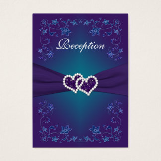 Purple Teal Floral Hearts Reception Enclosure Card