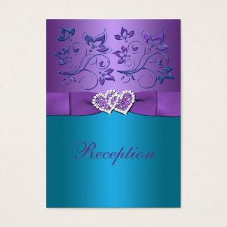 Purple Teal Floral Hearts Reception Enclosure Card