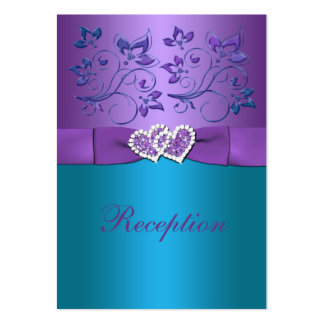 Purple Teal Floral Hearts Reception Enclosure Card Large Business Card