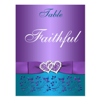 Purple, Teal Floral, Hearts Table Name Card Postcard