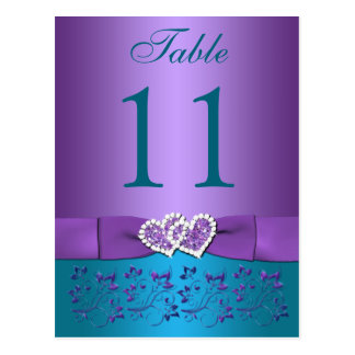 Purple, Teal Floral, Hearts Table Number Card