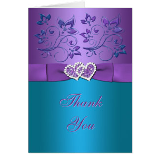 Purple, Teal Floral, Hearts Thank You Card