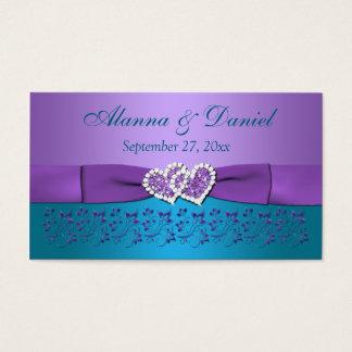 Purple, Teal Floral, Hearts Wedding Favor Tag