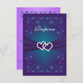 Purple, Teal Floral Hearts Wedding RSVP Invitation