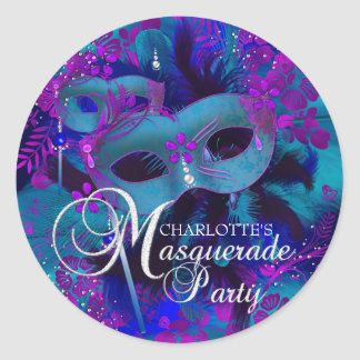 Purple & Teal Floral Masquerade Party Sticker