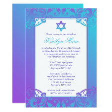 Purple Teal Flourish Bat Mitzvah Invitations