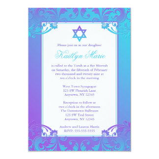 Purple Bat Mitzvah Invitations Announcements Zazzle