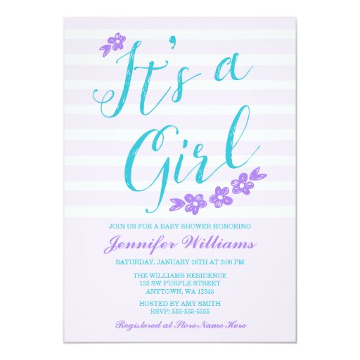purple teal flower stripes baby shower invitations zazzle