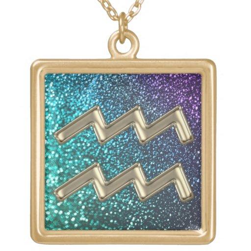 Purple Teal Glitter Gold  Aquarius Zodiac Necklace