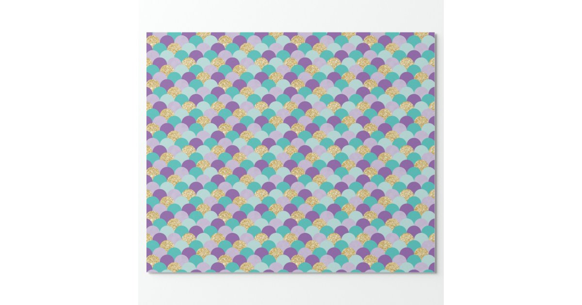 Purple Teal Gold Mermaid Scales Wrapping Paper | Zazzle