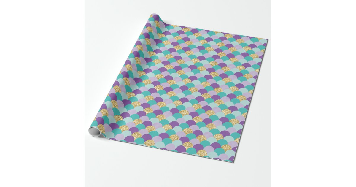 Purple Teal Gold Mermaid Scales Wrapping Paper Zazzle Com