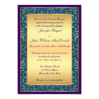 Purple Teal Gold Ornate Scrolls Wedding Invite