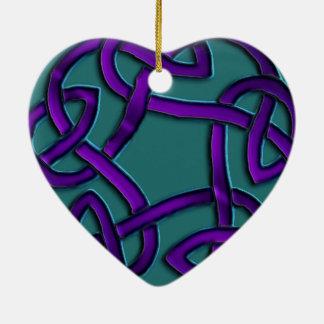 Purple Teal Heart Celtic Endless Knot Ornament