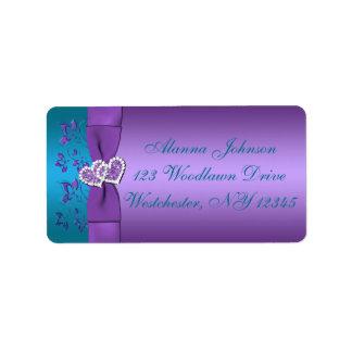 Purple, Teal Hearts Address Label