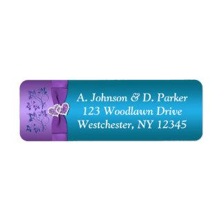 Purple, Teal Hearts Return Address Label