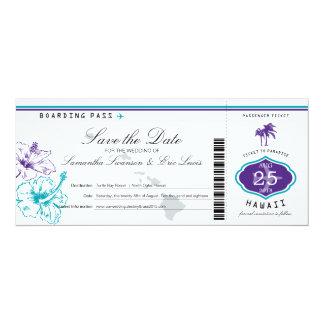 Purple Teal Hibiscus Flower Hawaii Boarding Pass Card