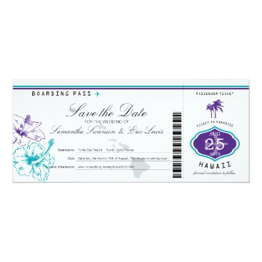 Purple Teal Hibiscus Flower Hawaii Boarding Pass Card