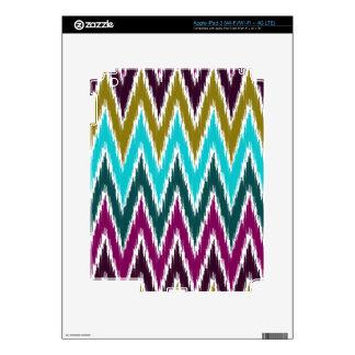 Purple Teal Ikat Chevron Zig Zag Stripes Pattern Decal For iPad 3