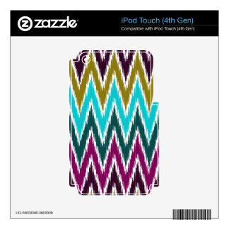 Purple Teal Ikat Chevron Zig Zag Stripes Pattern Decals For iPod Touch 4G