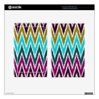 Purple Teal Ikat Chevron Zig Zag Stripes Pattern Kindle Fire Skins