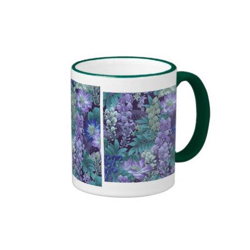 Purple & Teal Jungle Flowers Coffee Mug