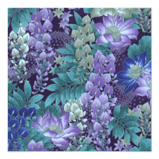 Purple & Teal Jungle Flowers Custom Announcements