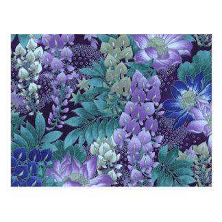 Purple & Teal Jungle Flowers Postcard
