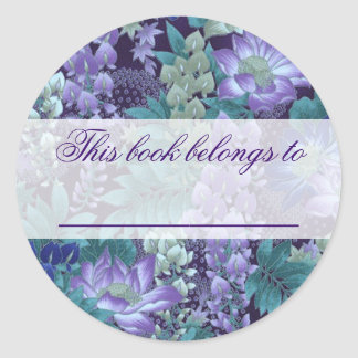 Purple & Teal Jungle Flowers Classic Round Sticker