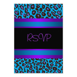 Purple Teal Leopard Sweet 16 Birthday Party RSVP Card