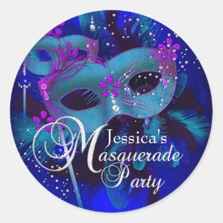 Purple & Teal Masks Masquerade Party Sticker