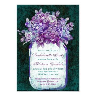 Purple Teal Mason Jar Bachelorette Party Invites