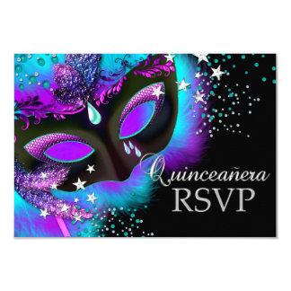 Purple & Teal Masquerade Quinceanera RSVP 3.5x5 Paper Invitation Card