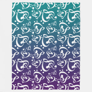 Purple Teal Ombre Clef Hearts Music Notes Pattern Fleece Blanket