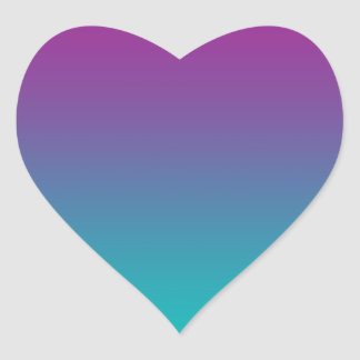 Purple & Teal Ombre Heart Sticker