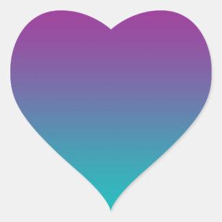 Purple & Teal Ombre Heart Sticker