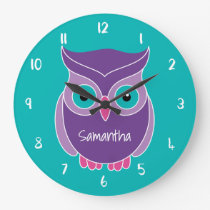 Purple Teal Owl Kids Personalized Animal Large Clock