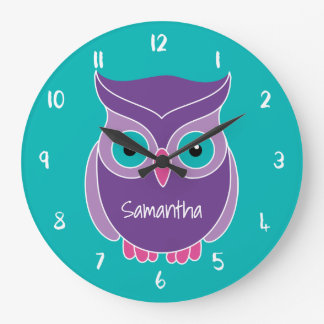 Purple Teal Owl Kids Personalized Animal Large Clock