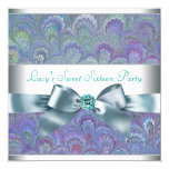 Purple Teal Peacock Paisley Birthday Party Invitation
