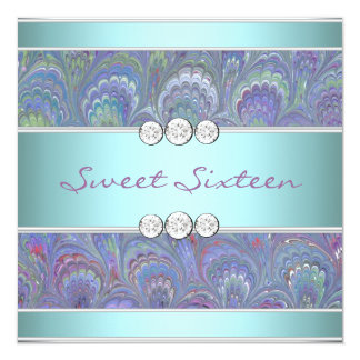 Purple Teal Peacock Paisley Sweet 16 Party Card