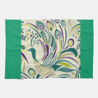 Purple Teal Peacock Swirl Kitchen Towel