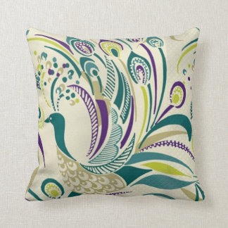 Purple Teal Peacock Swirl Throw Pillow by American
